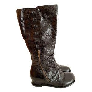 Miz Mooz Brenda WC Black Leather Wedge Boots 6.5